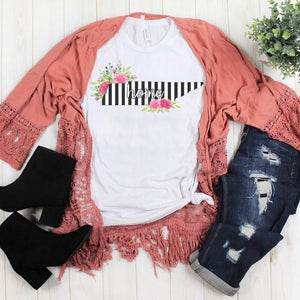Tennessee Home Striped Floral Soft Tee