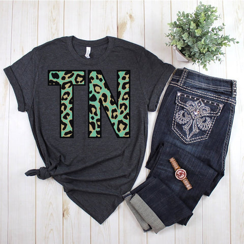 TN Teal Leopard Tennessee Soft Tee