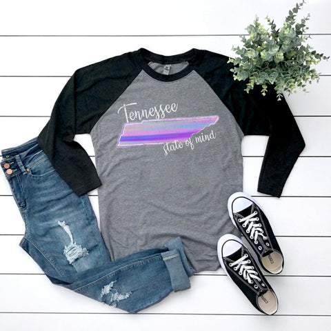 Watercolor Tennessee State of Mind Raglan Tee