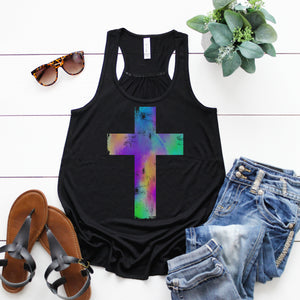 Watercolor Distressed Cross Flowy Racerback Tank