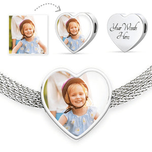 Personalized Heart Shaped Photo Charm Bracelet