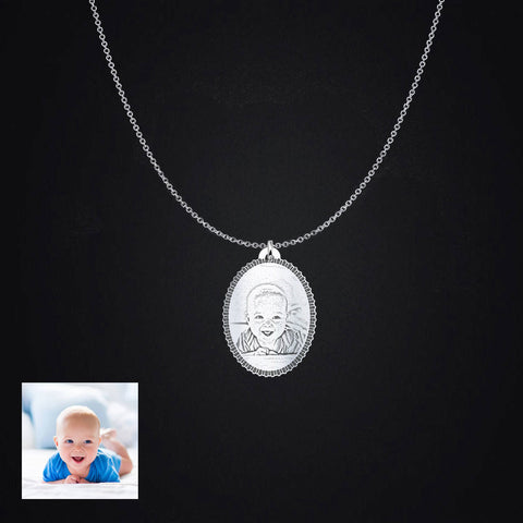 Sterling Silver Oval Personalized Photo Pendant Necklace