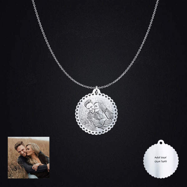 Personalized Heart Border Photo Pendant Necklace Engraving