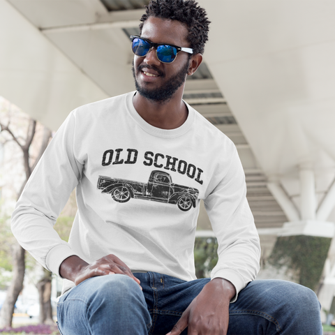 Old School Vintage Distressed Antique Truck Long Sleeve Tee White
