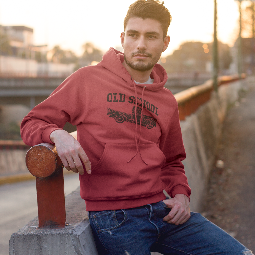 Old School Vintage Distressed Antique Truck Hoodie Red