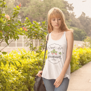Sweet as Strawberry Wine Flowy Racerback Tank White
