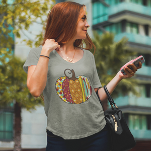 Blessed Fall Women's Distressed Pumpkin Flowy Tee  Grey