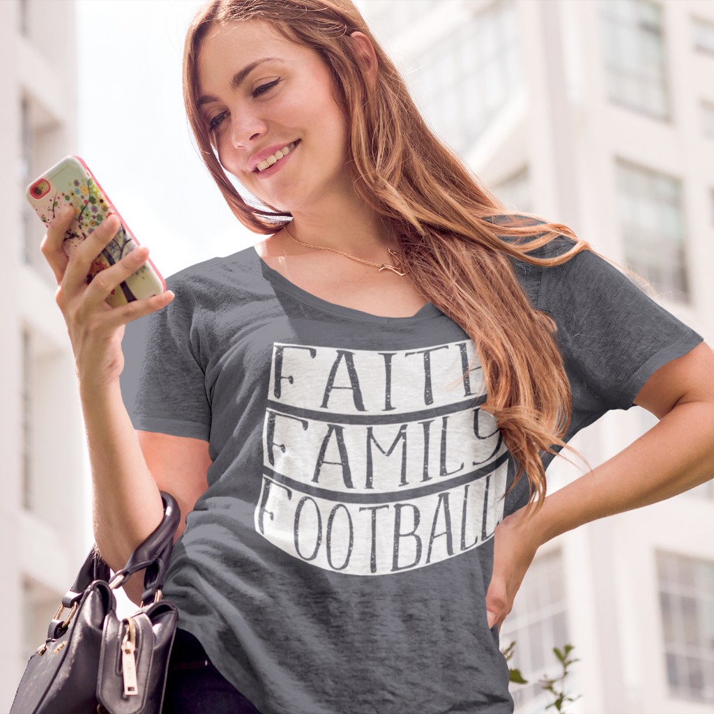 Faith Family Football Flowy Dolman sleeve tee grey
