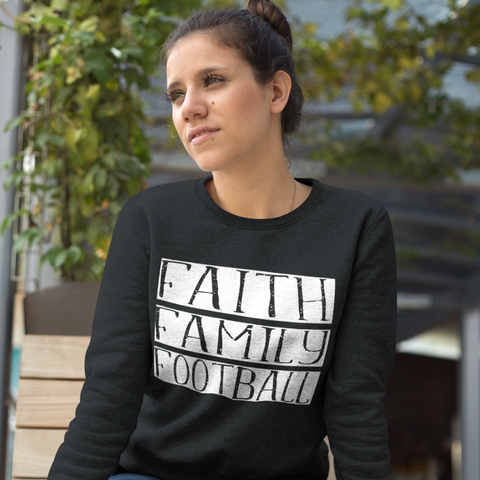 Faith Family Football Crewneck Sweatshirt Black