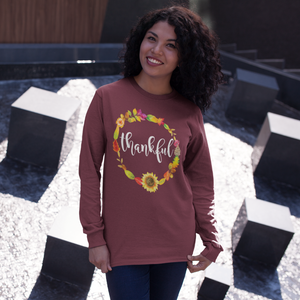 Thankful Floral Wreath Long Sleeve Tee Shirt Maroon