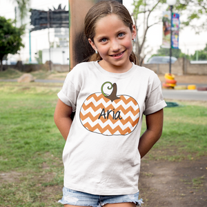 Kids Personalized Chevron Pumpkin Tee Shirt White