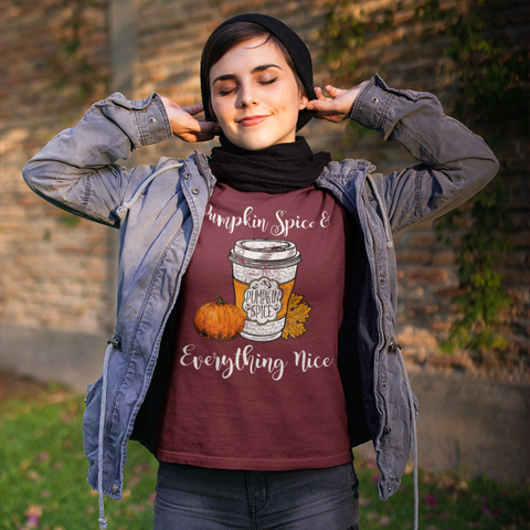 Pumpkin Spice and Everything Nice Tee Shirt Cardinal Red