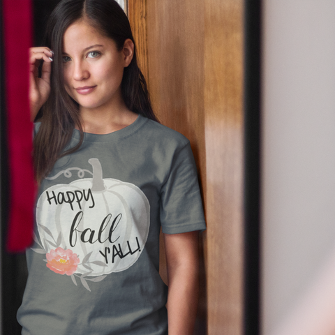 Happy Fall Y'all Watercolor Pumpkin Soft Tee Shirt Grey