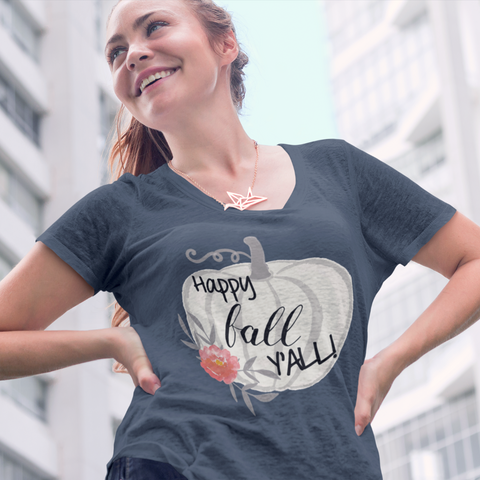 Happy Fall Y'all Watercolor Pumpkin Flowy Dolman Sleeve Tee Shirt Indigo