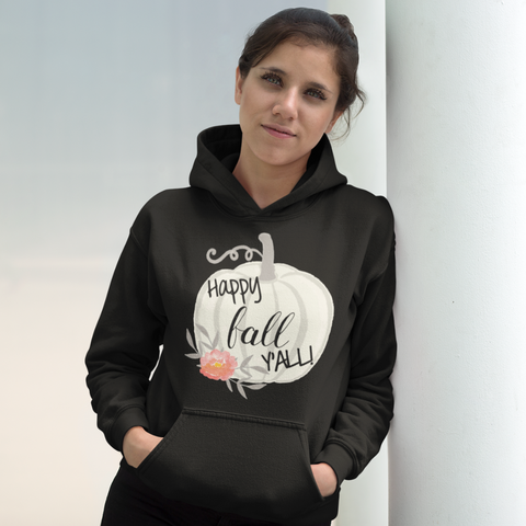 Happy Fall Y'all Watercolor Pumpkin Hoodie Sweatshirt Black