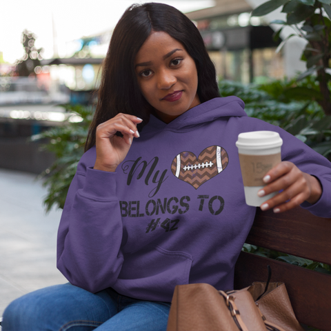 My Heart Belongs To Personalized Football Hoodie Sweatshirt Purple