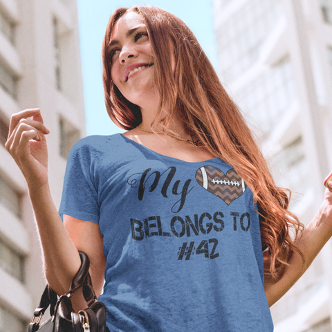 My Heart Belongs To Personalized Football Flowy Dolman Sleeve Tee Blue