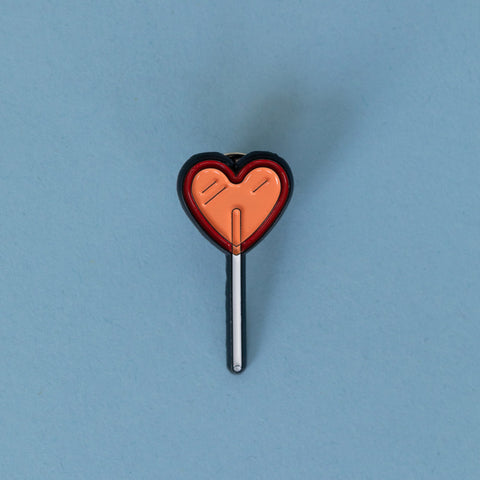 Emaille Pin Herz Lolly rot oder peach
