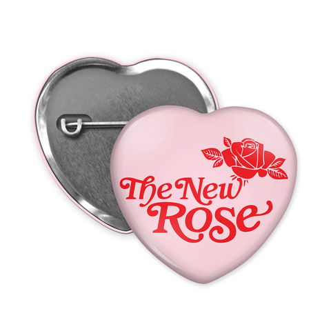 The New Rose Logo heart-shaped Badge pink