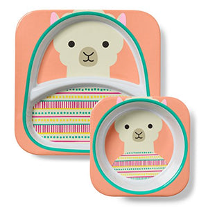 Skip Hop Baby Plate and Bowl Set, Melamine, Llama - Prep And Rally