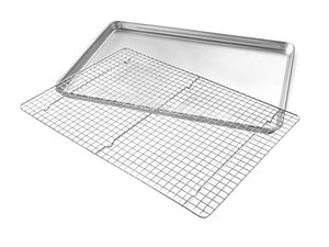 Bakeware Extra Large Sheet Baking Pan and Bakeable Nonstick Cooling Rack - Prep And Rally