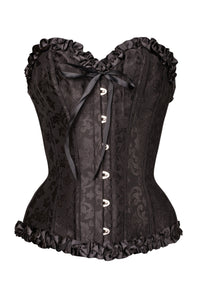 Black Brocade Sweetheart Corset With Ruffle Trim