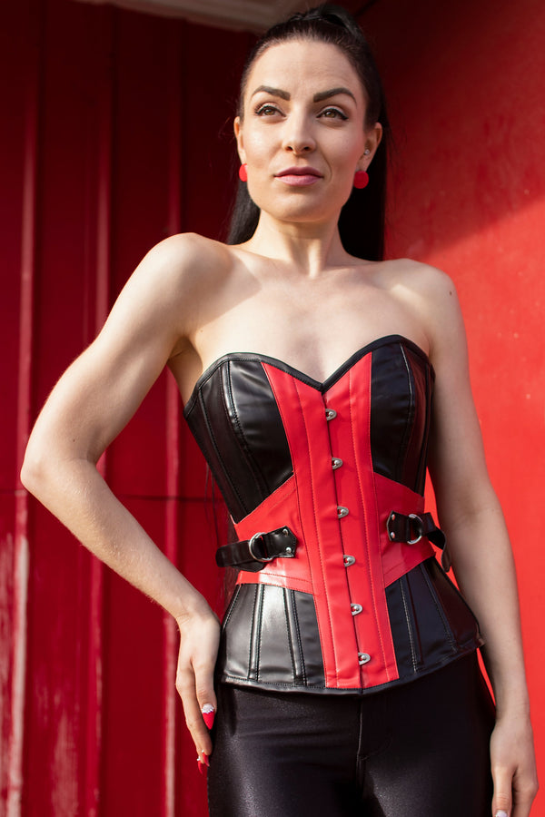 Black and Red PVC Buckle Corset