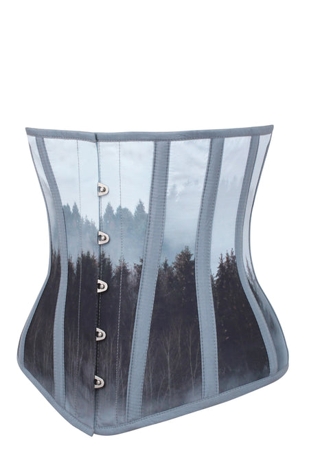 Cloud Blue Misty Forest Underbust Corset