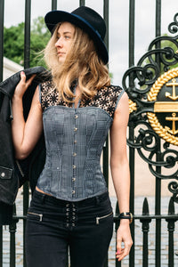Houndstooth and Crochet Corset Top