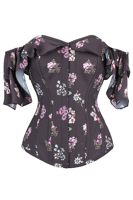 Aubergine Summer Corset Top with Dramatic Sleeve