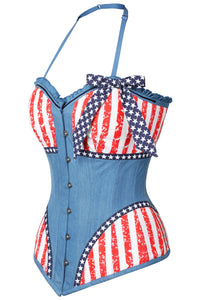 Distressed Denim USA Flag Overbust Corset With Halterneck