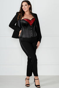 Black Red Burlesque Halterneck Corset