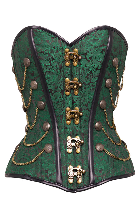 Green Waist Taming Steampunk Corset With Chains