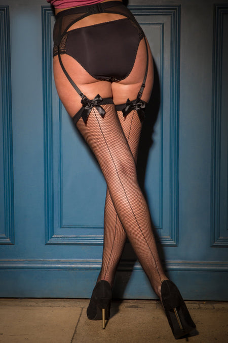 All Wrapped Up Bow Fishnet Back Seam Stocking - Black