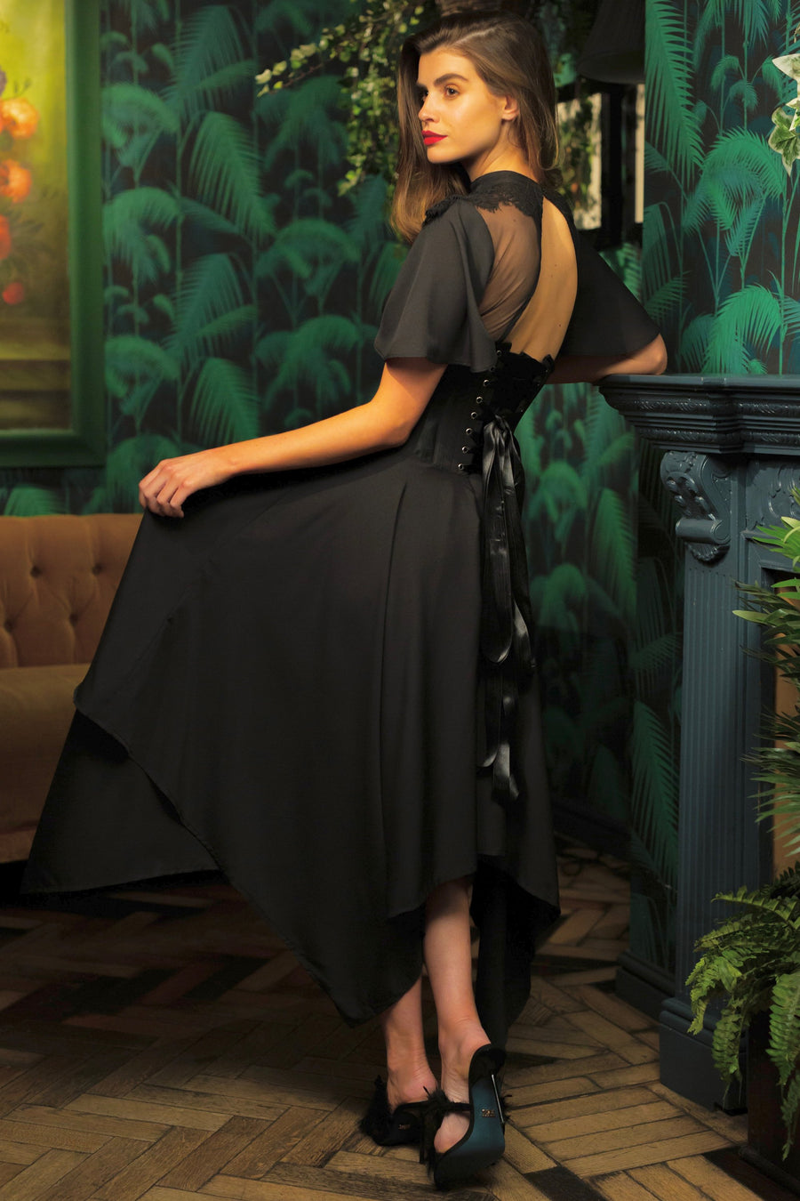 Black Corseted Dress with Lace Detail