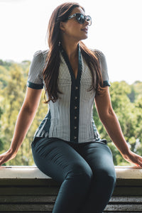 Navy Pinstripe Short Sleeve Corset Shirt