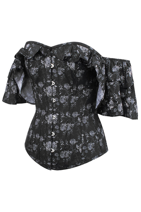 Black And Grey Floral Corset Top With Frilled Sleeve