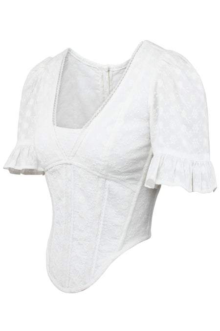 White Cotton Summer Corset Top with Ruffle Sleeve