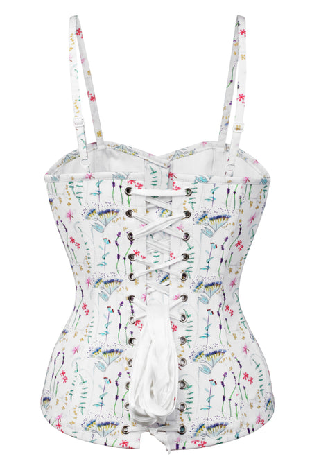 Pressed Floral Print Corset Top with Spaghetti Strap