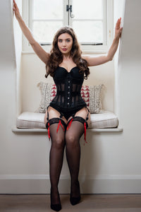 Black Mesh Waist Taming Underbust With Lace Trim and Suspender Clips