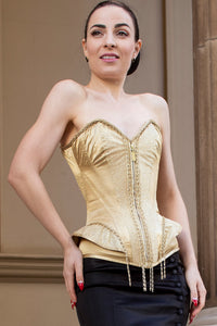 Champagne Gold Burlesque Waist Taming Overbust With Peplum