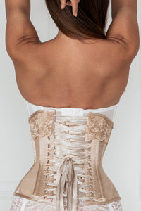 Champagne Longline Satin Bridal Corset with Super Fine Mesh Panels