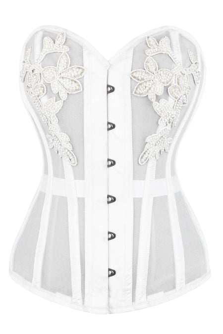 WHITE MESH AND LACE APPLIQUÉ CORSET