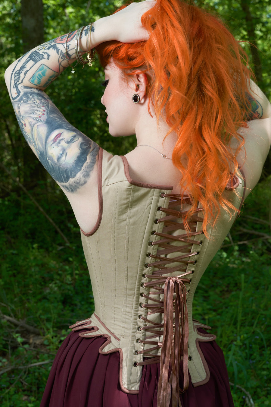 Historically Inspired Overbust Corset with Embroidery and Flossing