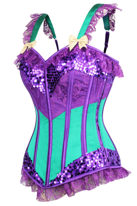 Purple & Green Joker Mardi Gras Corset