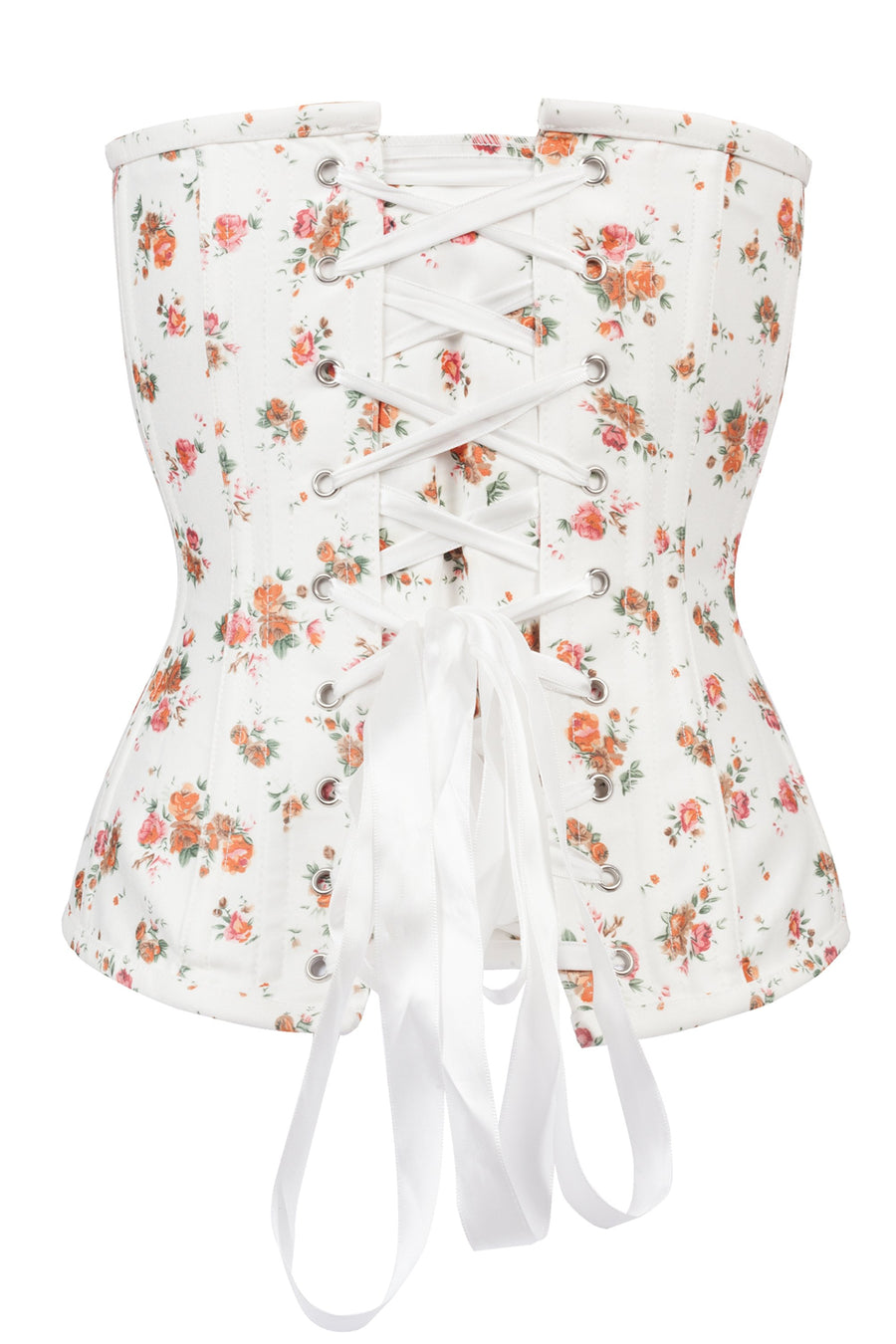 Floral Classic White Overbust With Sweetheart