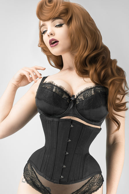 Underbust Waist Trainer In Black Cotton Twill -Curved Hem And Hip Panels