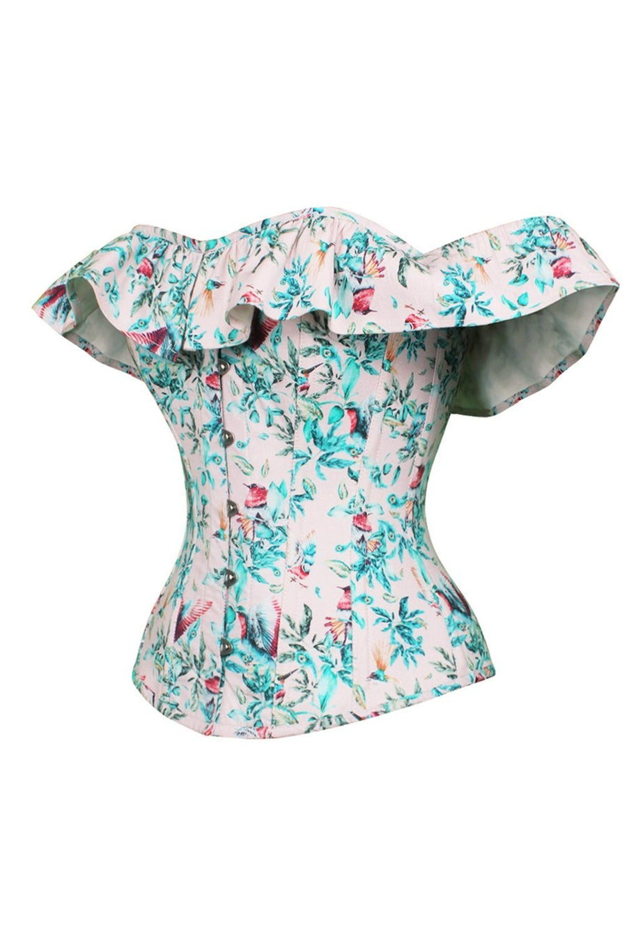 Birds Of Paradise Cold Shoulder Cotton Corset Top