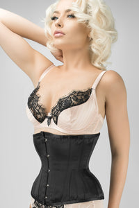 Waist Taming Simple Black Underbust Corset With Hip Gores