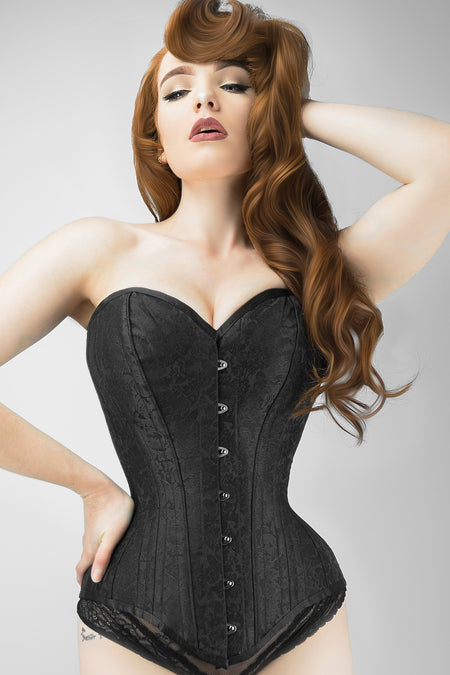 Long Black Brocade Expert Waist Training Corset